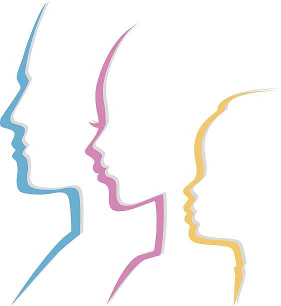 illustrazioni stock, clip art, cartoni animati e icone di tendenza di famiglia icone testa - couple portrait caucasian