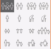 Family Icons. Man and Women Thin Pictogram.