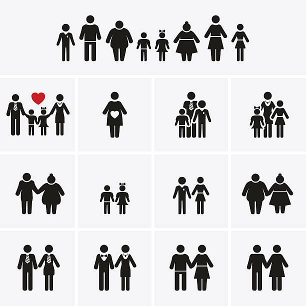 Family Icons. Man, Woman, Kid, Elder. People Character. Family Icons. Man, Woman, Kid, Elder. People Character. Vector set same sex couples stock illustrations
