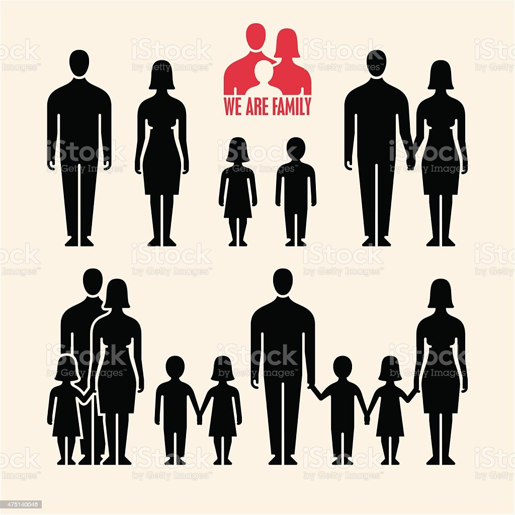 Family icons. People icons. vector art illustration