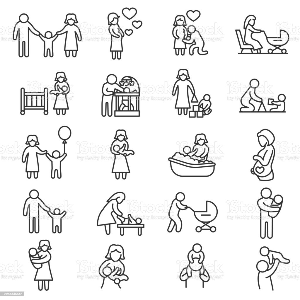 Family, icons set. Editable stroke vector art illustration