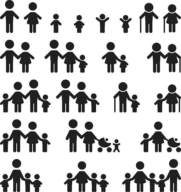 Family icons set Family icons set   elementary age stock illustrations