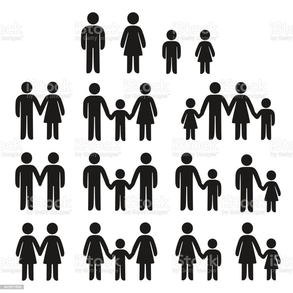 Conjunto de iconos de familiares - ilustración de arte vectorial
