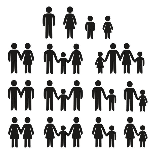 family icons set - family stock illustrations