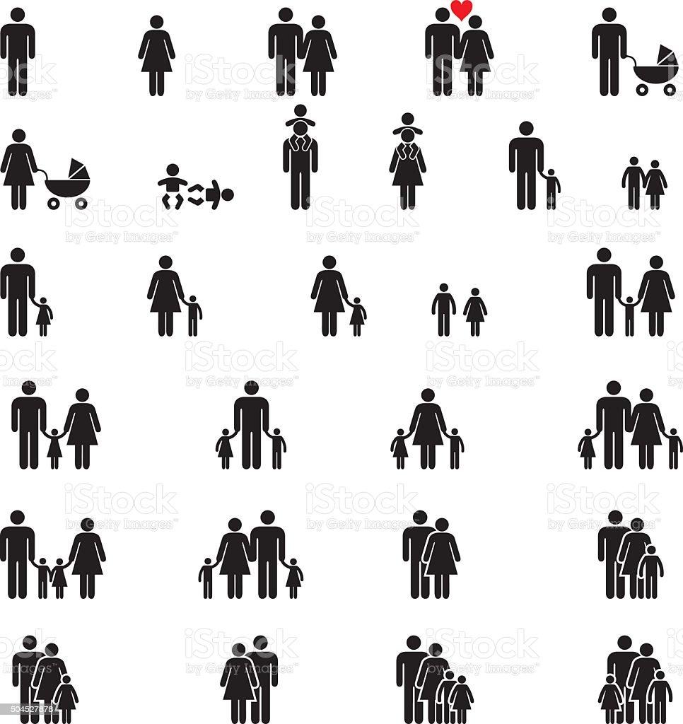 Family Icons vector art illustration