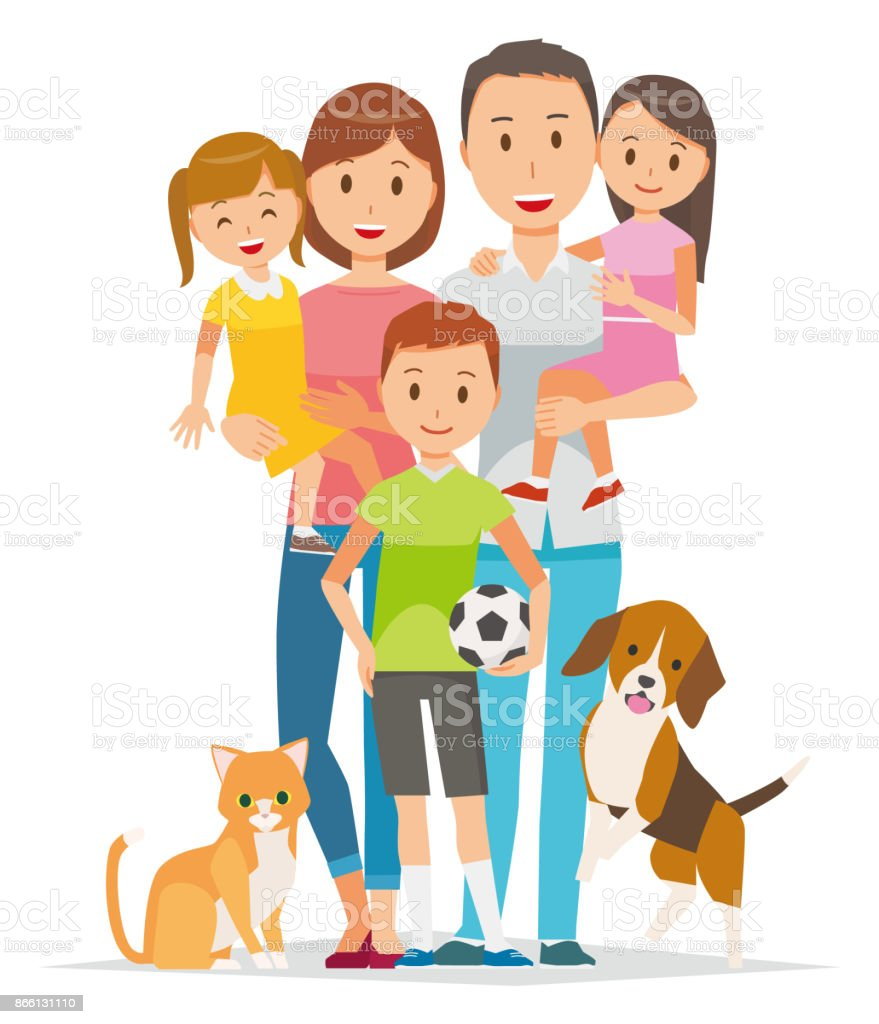Family Illustration - 5 people and pets