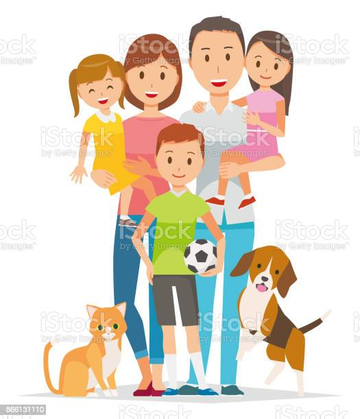 Family illustration 5 people and pets vector id866131110?b=1&k=6&m=866131110&s=612x612&h=m ofwbwdrnn0dzlftersys70e2ur xrdrba47g4mios=