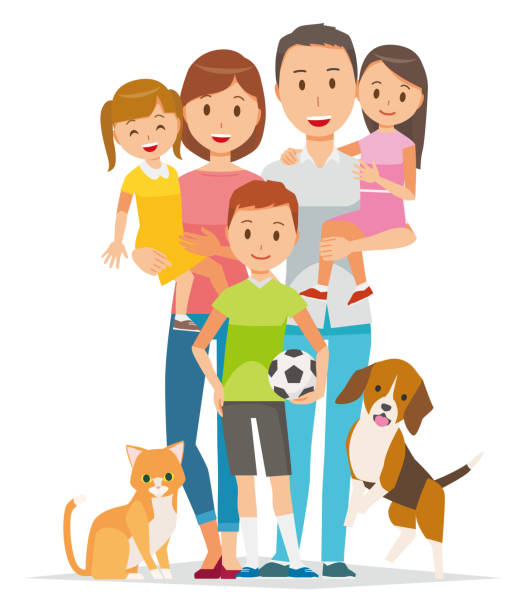 family illustration - 5 people and pets - happy family stock illustrations