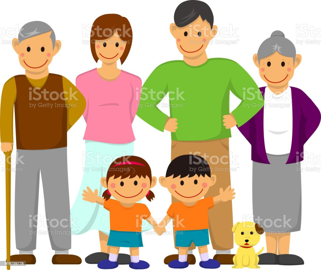 Family illustration / with grandparents vector art illustration