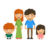 Family Illustration With Two Children. Vector