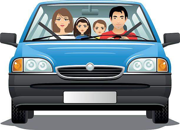 ilustrações, clipart, desenhos animados e ícones de família em um carro - novo bebê