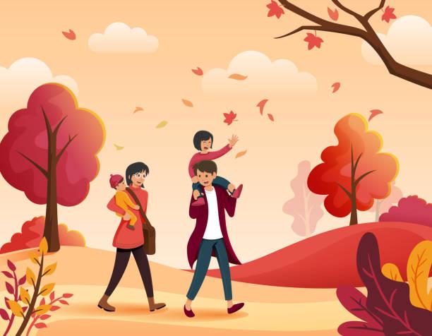 bildbanksillustrationer, clip art samt tecknat material och ikoner med familj i höst - children autumn