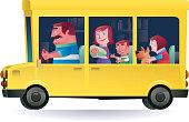 vector illustration of man driving family…