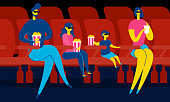 Family in Cinema Hall. Mom, Dad and Kids in 3d Glasses. Family Leisure and Entertainment. People Have Popcorn and Watching 3d Movie. Parents, Boy and Girl Have Fun Together. Vector EPS 10.