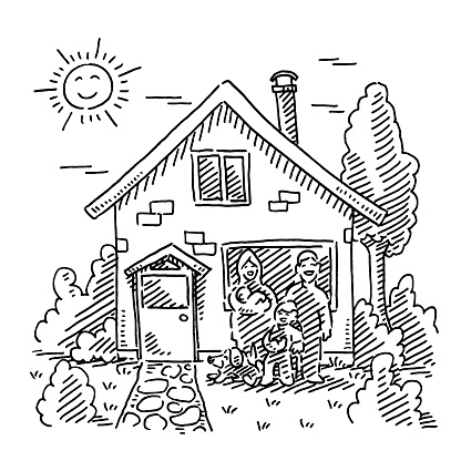 Family In Front Of Their Home Drawing