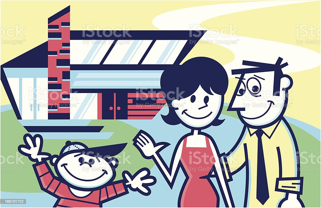 family in front of their home vector art illustration