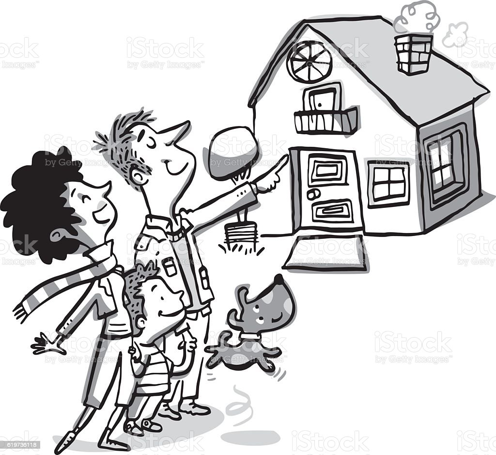 Familia en frente de la nueva casa - ilustración de arte vectorial
