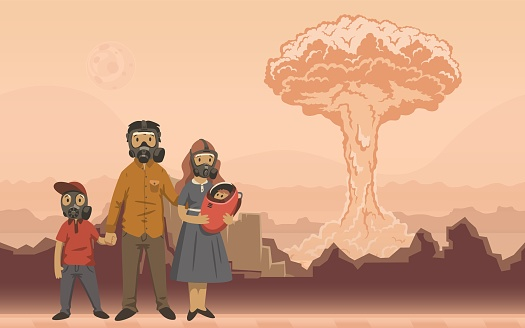 Family in gas masks on nuclear explosion background. Futuristic apocalyptical scene. Flat vector illustration. Horizontal.