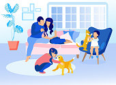 Family in Living Room at Home Cartoon. Dad and Mom Sitting on Sofa and Talking. Daughter Stroking Cat on Floor and Son Playing with Cat on Armchair. Carefree and Recreation. Vector Flat Illustration