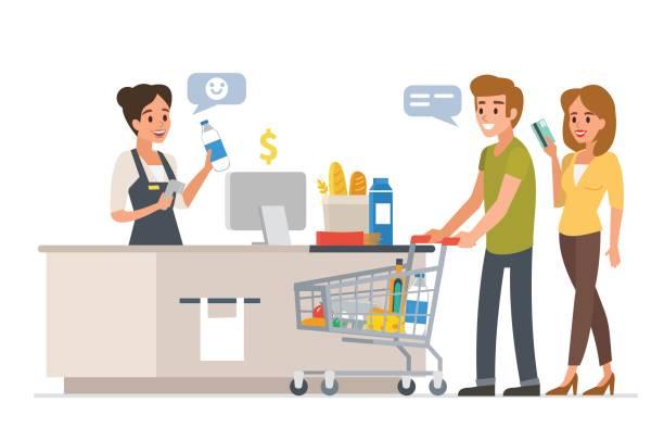 ilustraciones, imágenes clip art, dibujos animados e iconos de stock de familia en el mercado - corredor de bolsa