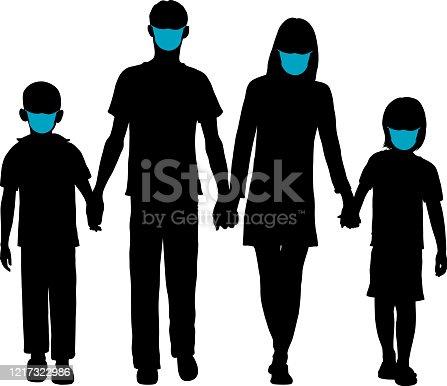istock Family in Masks 1217322986