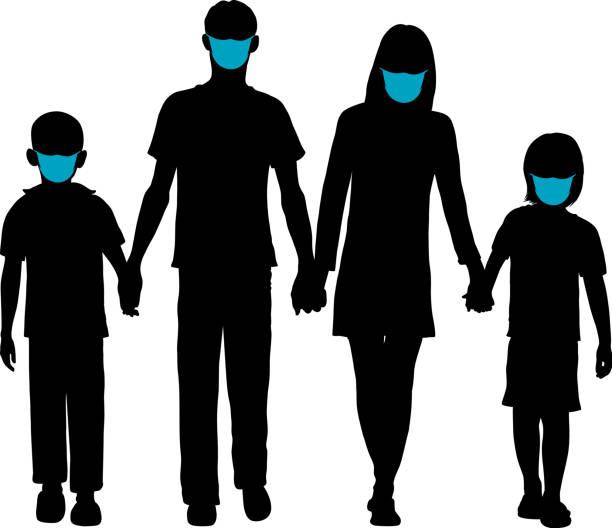 Family in Masks vector art illustration