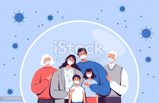 istock Family in medical masks stands in a protective bubble. Adults, old people and children are protected from the new coronavirus COVID-2019 1215751873