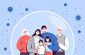 Family in medical masks stands in a protective bubble. Adults, old people and children are protected from the new coronavirus COVID-2019. Vector illustration