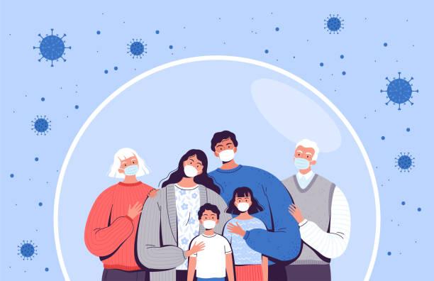 ilustraciones, imágenes clip art, dibujos animados e iconos de stock de la familia con máscaras médicas se encuentra en una burbuja protectora. adultos, ancianos y niños están protegidos del nuevo coronavirus covid-2019 - protección