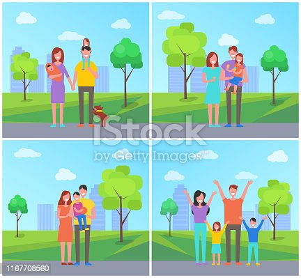 Family in city park set people vector. Parenting and childhood, father with daughter, eating ice cream dessert. Mother holding newborn child on hands
