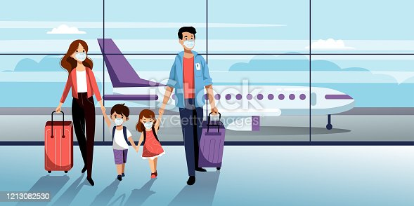 Family with two kids in medical protection masks in airport terminal. Vector illustration. Traveling by airplane during outbreak of coronavirus epidemic. Prevention of seasonal flu disease concept