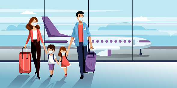 Family in protection masks in airport. Vector illustration. Traveling by airplane during coronavirus epidemic outbreak