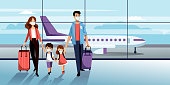 istock Family in protection masks in airport. Vector illustration. Traveling by airplane during coronavirus epidemic outbreak 1213082530