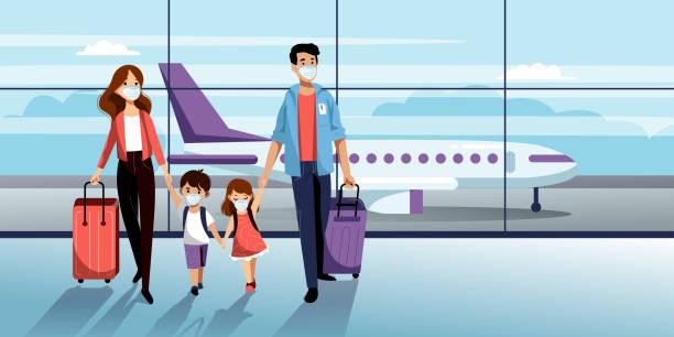 rodzina w maskach ochronnych na lotnisku. ilustracja wektorowa. podróż samolotem podczas epidemii koronawirusów - podróżowanie stock illustrations
