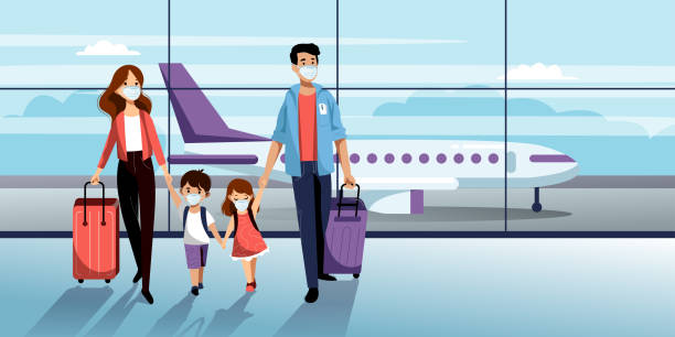 Family in protection masks in airport. Vector illustration. Traveling by airplane during coronavirus epidemic outbreak Family with two kids in medical protection masks in airport terminal. Vector illustration. Traveling by airplane during outbreak of coronavirus epidemic. Prevention of seasonal flu disease concept airport stock illustrations