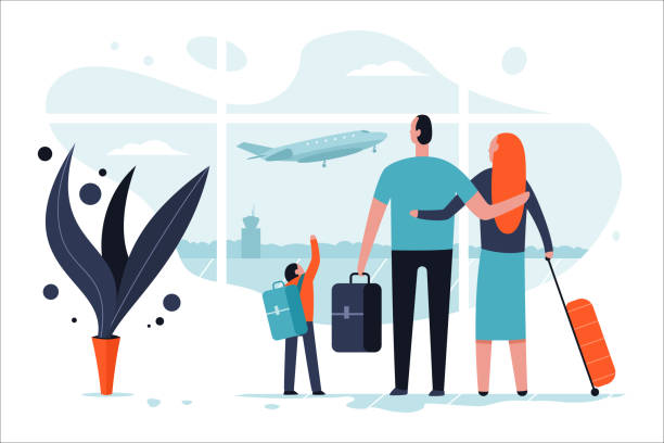 Family in the airport terminal with luggage. Passengers and travel vector cartoon flat concept illustration. Family in the airport vector. airport clipart stock illustrations