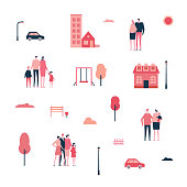 Family in the city - flat design style set of isolated elements on white background for creating your own images. A collection of cartoon characters, buildings, playground items, bench, lanterns, car