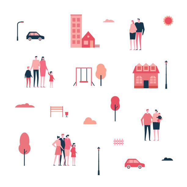 familie in der stadt - flache bauweise stilgruppe isolierte elemente - städtische mode stock-grafiken, -clipart, -cartoons und -symbole