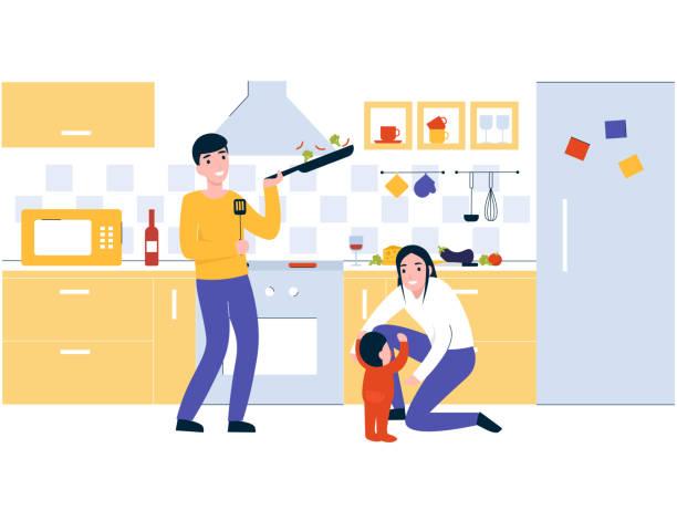 ilustrações de stock, clip art, desenhos animados e ícones de family in the kitchen cook breakfast - cooker happy