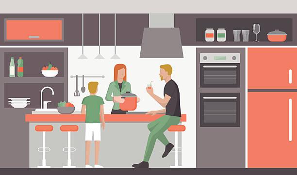Famille dans la cuisine - Illustration vectorielle