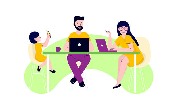 family in the kitchen with laptops vector art illustration