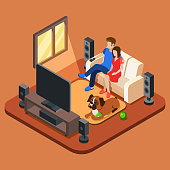 Family in the living room watching TV