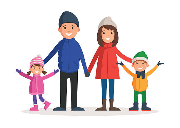 Family in winter clothes Happy family in winter clothes. Parents with children: father, mother, son and daughter enjoy the winter. Vector illustration in a cartoon style template for web banner design, flyer, poster or greeting card christmas family stock illustrations