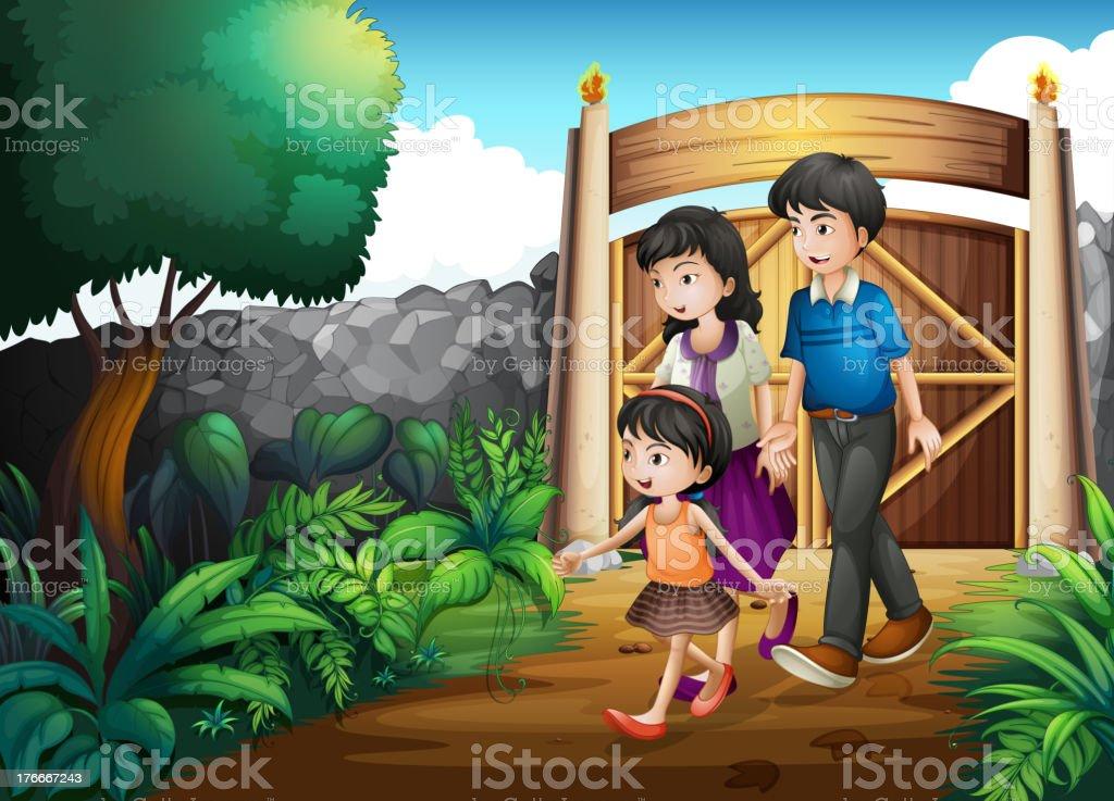 Familia dentro de la puerta ilustración de familia dentro de la puerta y más banco de imágenes de adulto libre de derechos