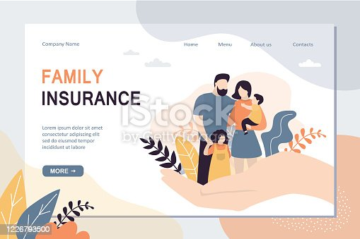 Family Insurance and healthcare landing page template. Big hand holding tiny people with children.