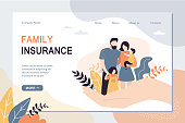 istock Family Insurance and healthcare landing page template. Big hand holding tiny people with children. 1226793500