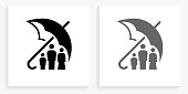 Family Insurance Black and White Square IconDocuments and Paper Clip Black and White Square Icon