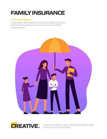 Family Insurance Concept Flat Design for Posters, Covers and Banners. Modern Flat Design Vector Illustration.