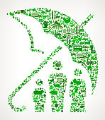 Family Insurance Icon . The green vector icons create a seamless pattern and include popular farming and agriculture. Farm house, farm animals, fruits and vegetables are among the icons used in this file. The icons are carefully arranged on a light background and vary in size and shades of green color.