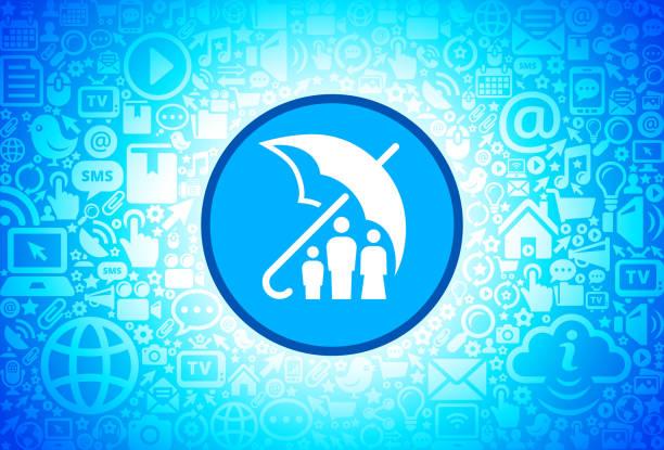 ilustrações de stock, clip art, desenhos animados e ícones de family insurance icon on internet technology background - tv e familia e ecrã